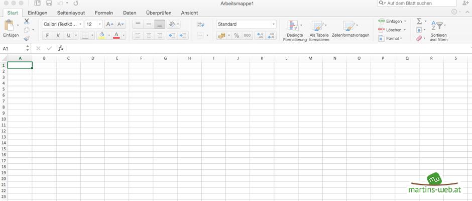 MS Excel 2016 unter Mac OS X