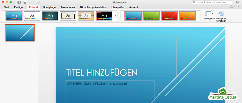 MS Powerpoint 2016 unter Mac OS X