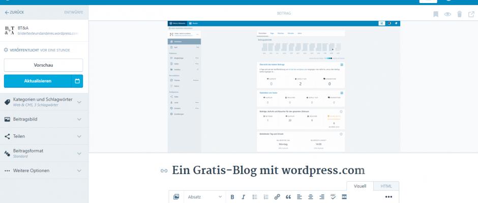 wordpress.com - Beitrag erstellen