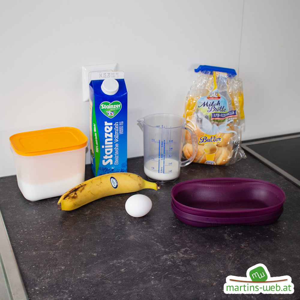 Einige Zutaten für das Schoko-Bananen-Omlett