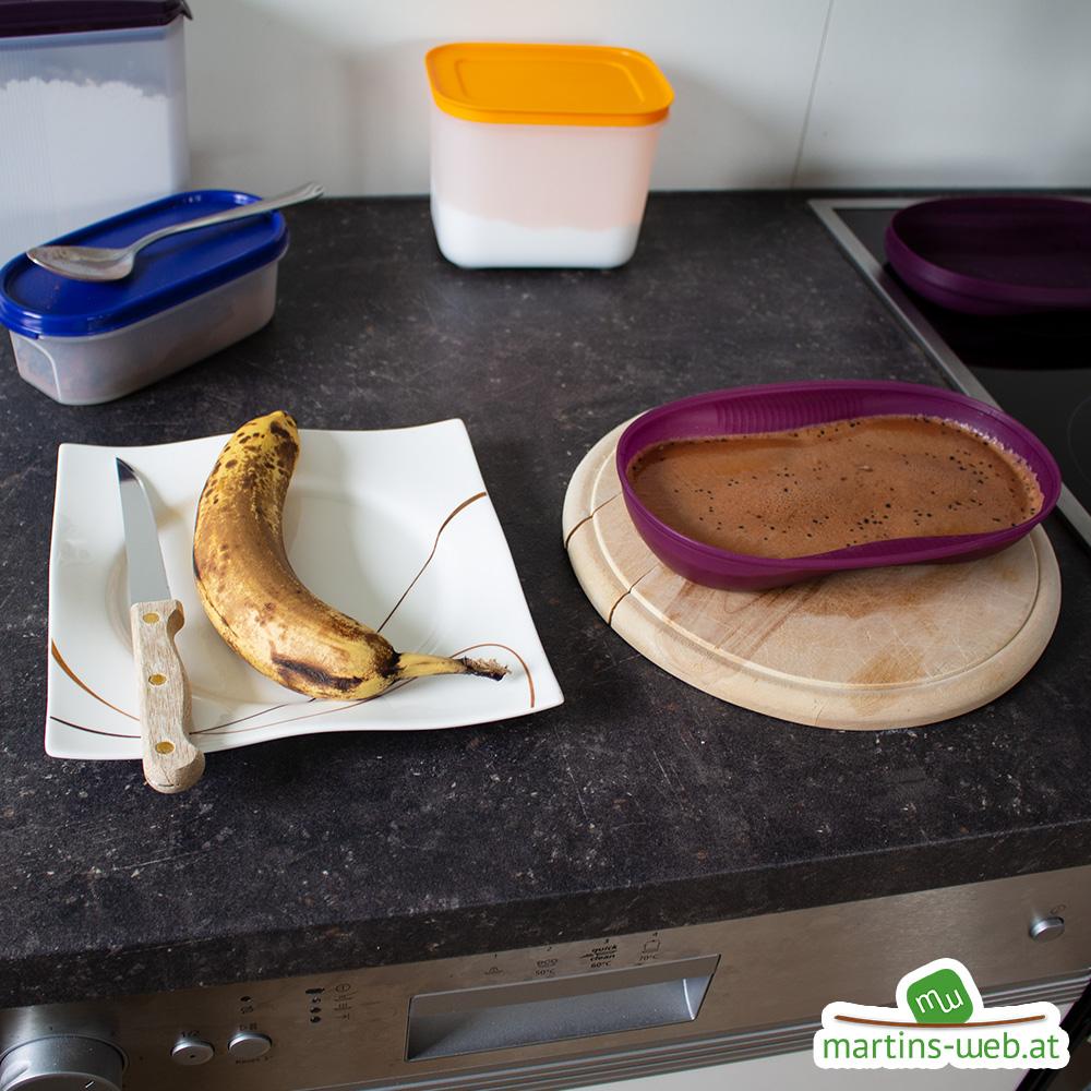 Schoko-Bananen-Kuchen halb gebacken