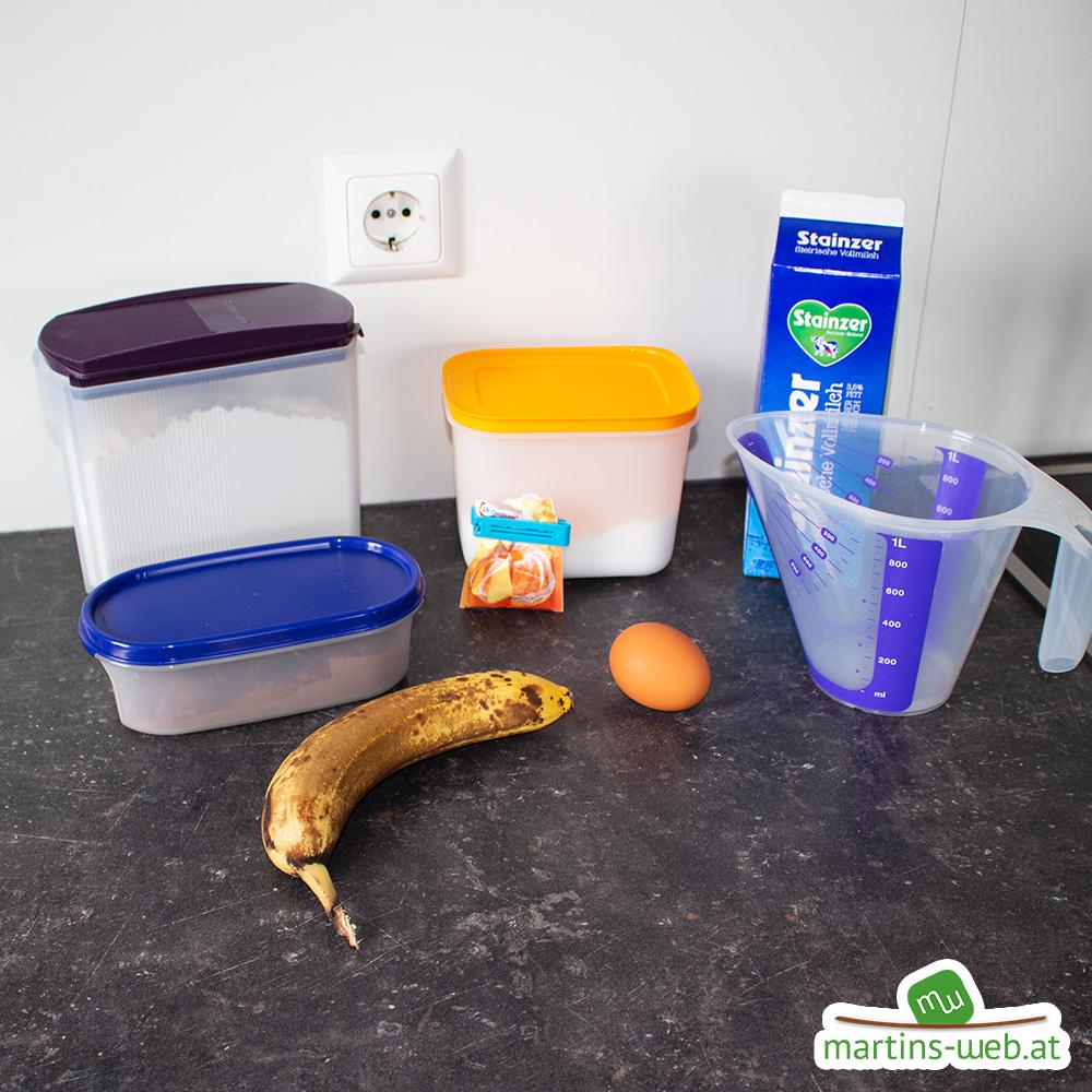 Zutaten für den Schoko-Bananen-Kuchen
