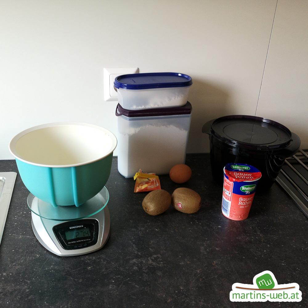 Zutaten für den Kiwi-Kuchen