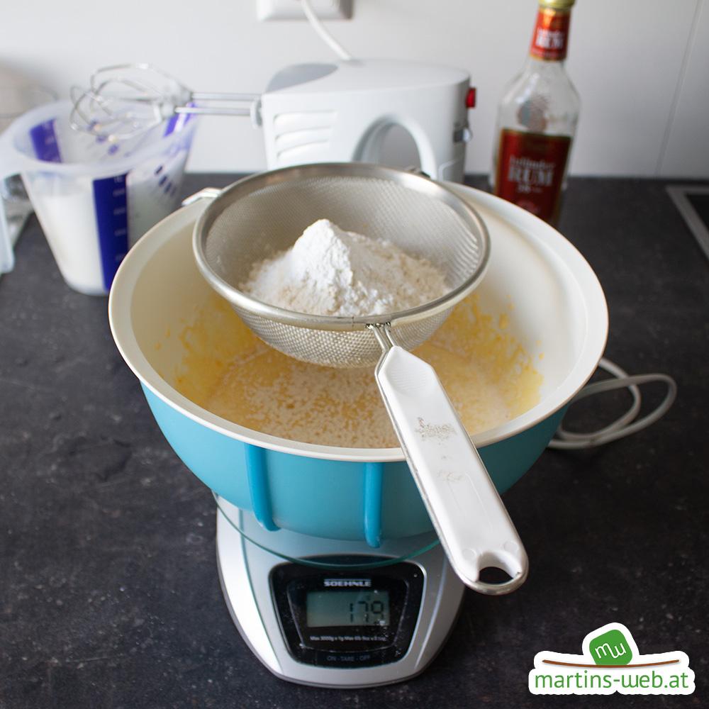 Mehl, Backpulver für den Teig