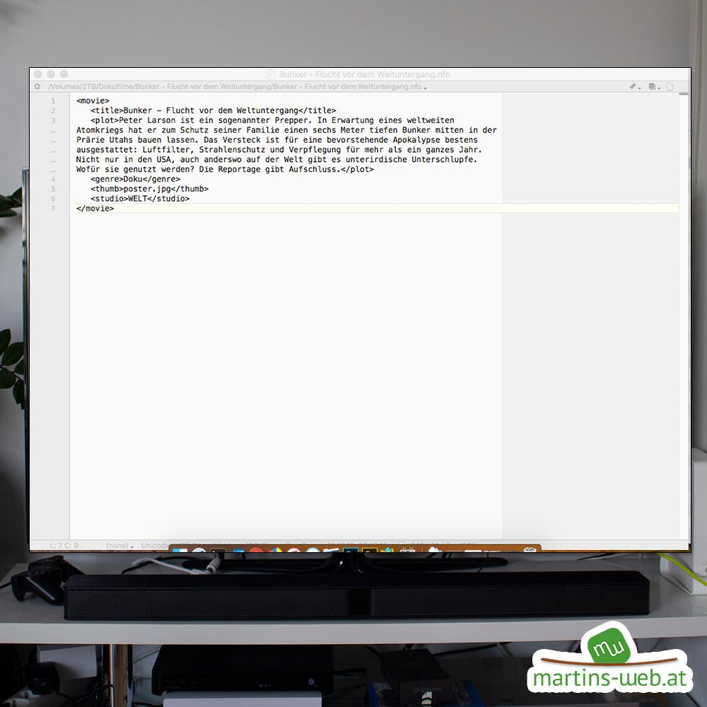 LibreELEC: Inhalt der NFO-Datei