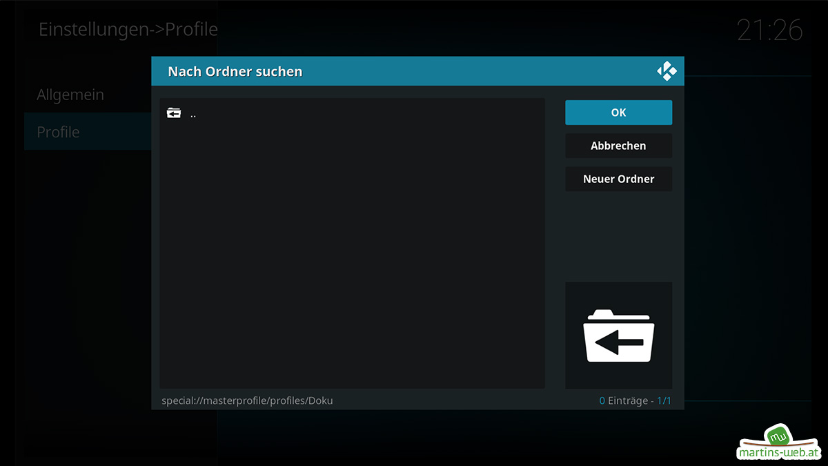 Kodi Userprofil Ordner