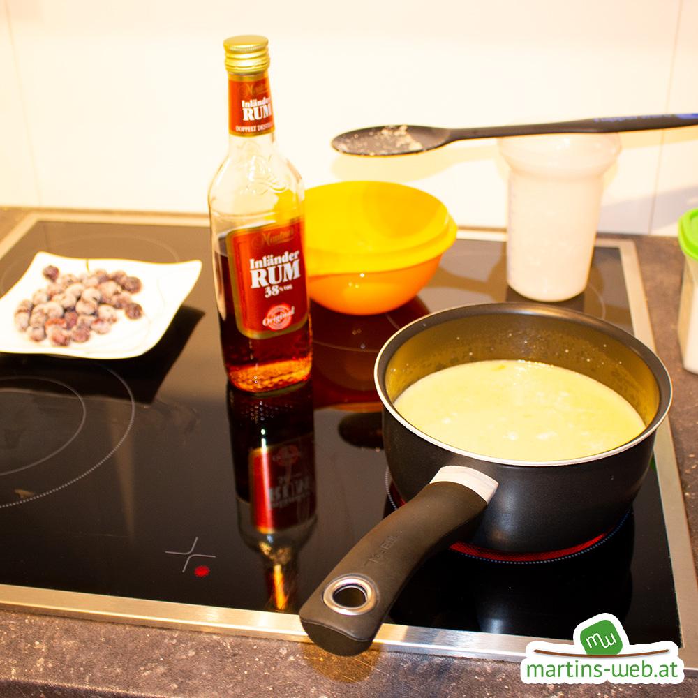 Zubereitung meines Heidelbeer-Grießauflauf