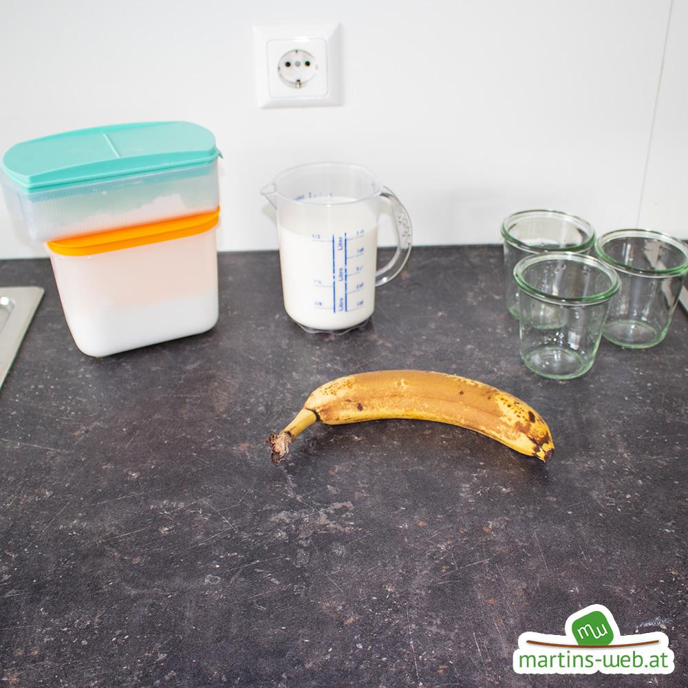 Zutaten für den Bananen-Pudding