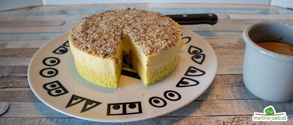 Einfache Nuss-Torte mit Vanillecreme