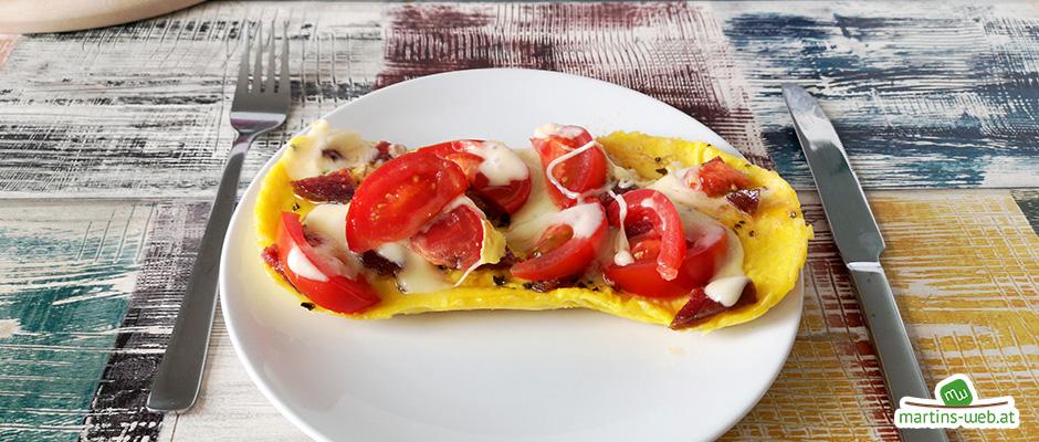 Würziges Tomaten-Salami-Käse-Omlett