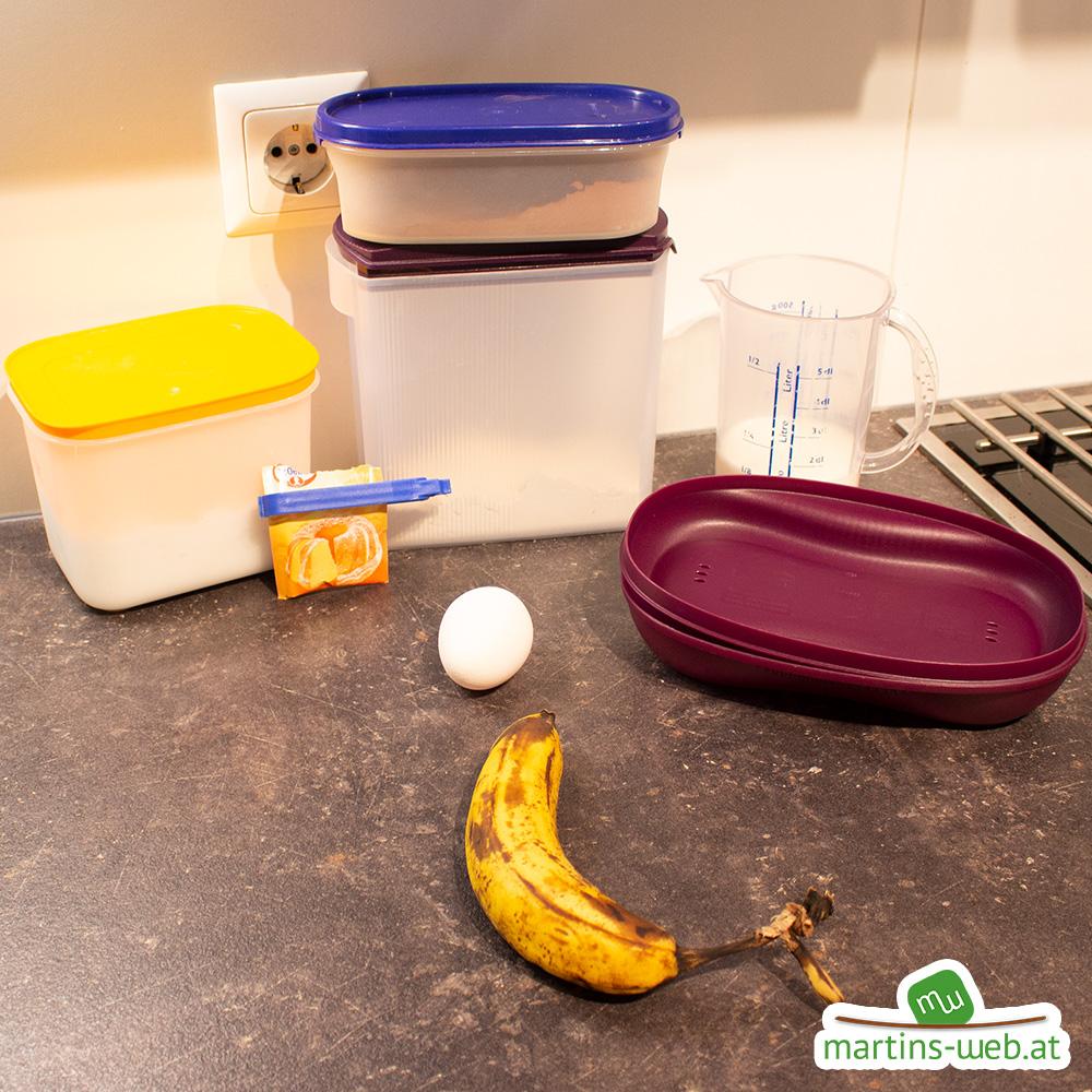 Zutaten für den Omlettwunder Schoko-Bananen-Kuchen