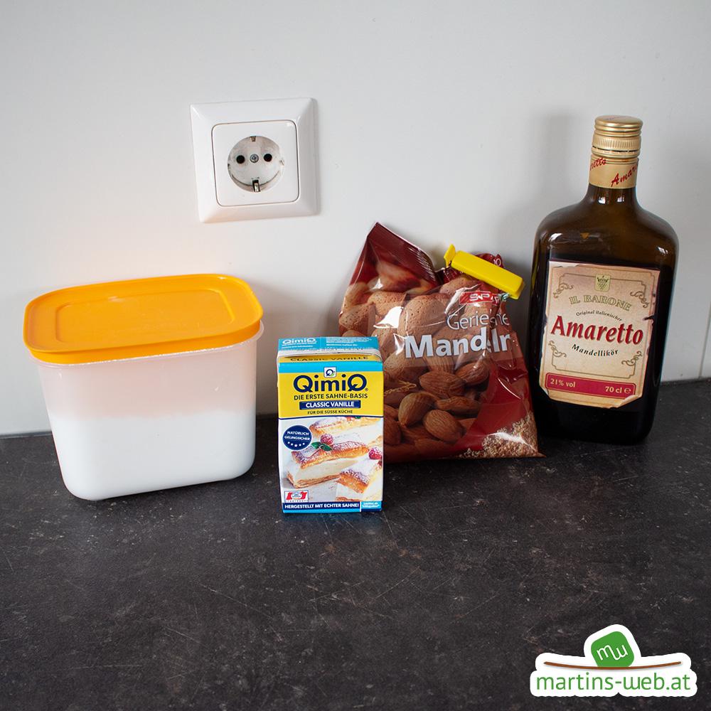 Zutaten für die Amaretto-Mandel-Creme