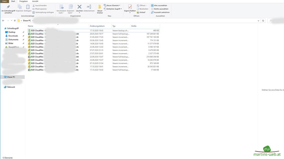Veeam Backups auf der Festplatte