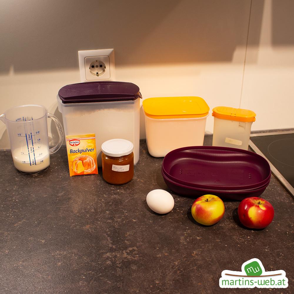 Zutaten für das süße Apfel-Omelette