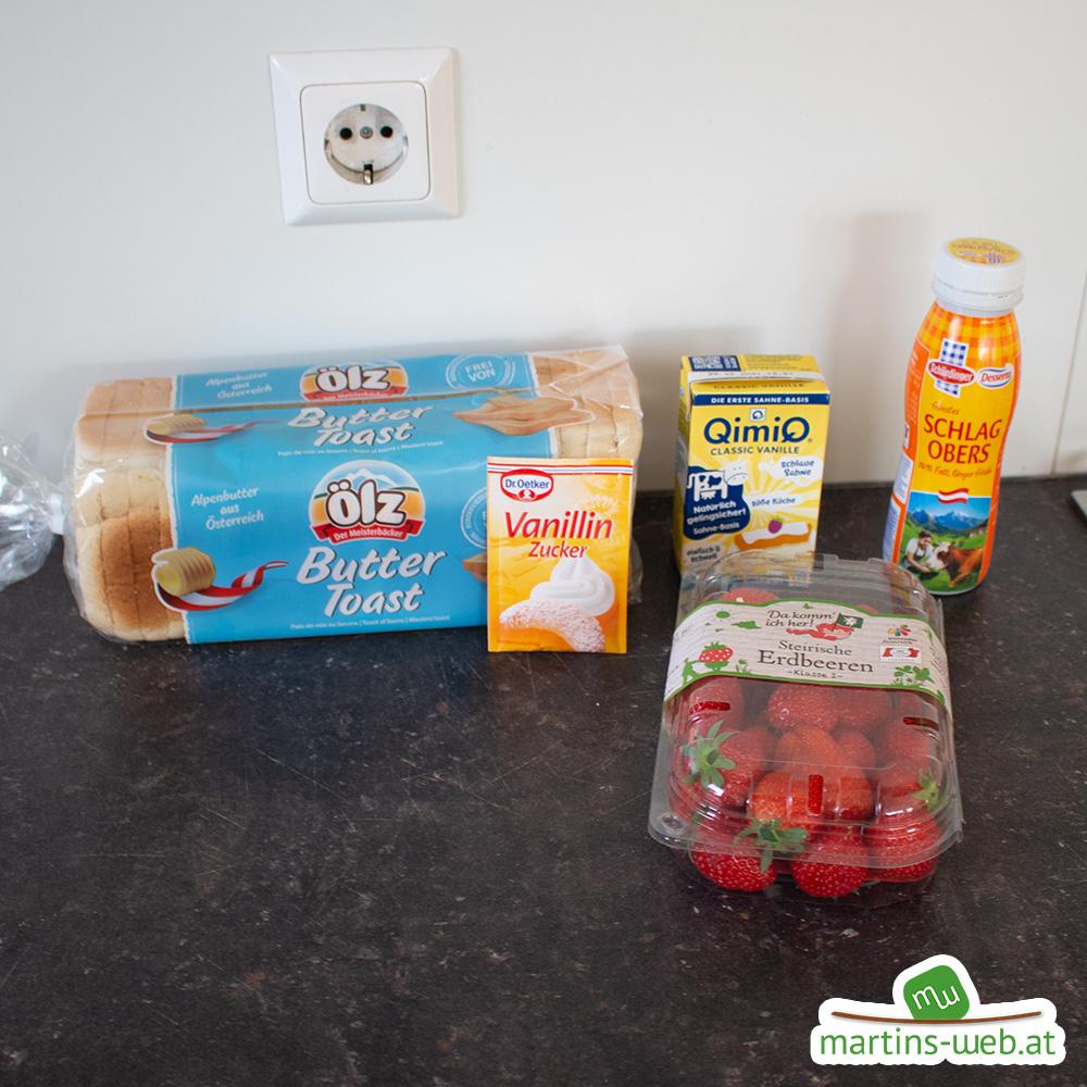Zutaten für die Erdbeer-Fruchtschnitten